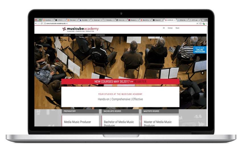 responsive website musicube - ontwerpbureau diepzicht nijmegen
